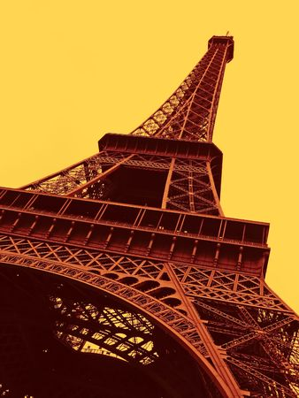 a view of the Eiffel Tower in Paris Stock Photo