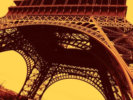 taller: a view of the Eiffel Tower in Paris Stock Photo