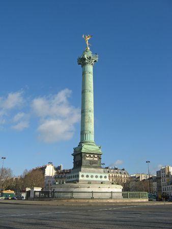 Golden angel on the column at place de la Bastille in Paris