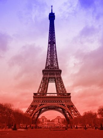 red, white and blue version of the Eiffel Tower Stock Photo