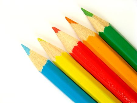 some colored pencils on a white background Stock Photo - 2459582