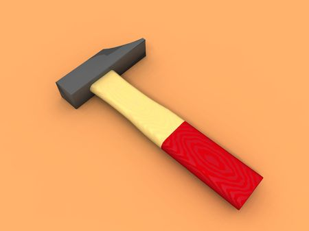 odd jobs: a 3d render of an hammer on orange background