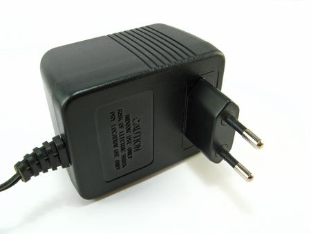 image of a black power supply on a white background photo