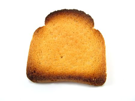 melba: algunos Melba rebanada de pan tostado sobre un fondo blanco