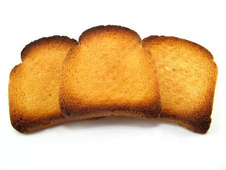 melba: algunas rebanadas de pan tostado Melba durante un fondo blanco