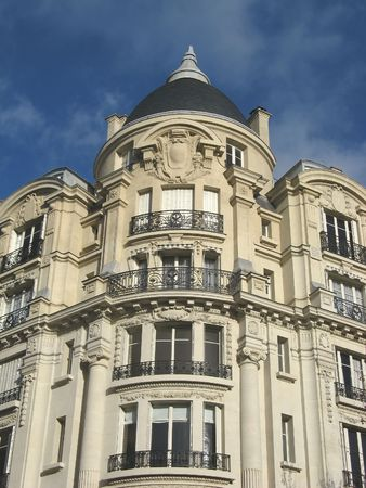 image of an ancien parisian building on grand boulevards Stock Photo