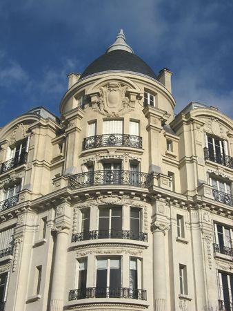 image of an ancien parisian building on grand boulevards Stock Photo