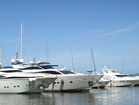 yachts in french riviera harbor of Hyeres-les-palmiers
