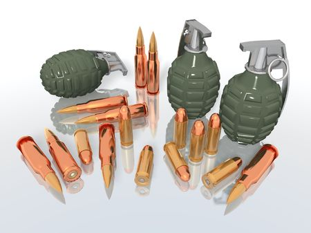 a 3d rendering of some grenades and bullets Stock Photo - 3002785