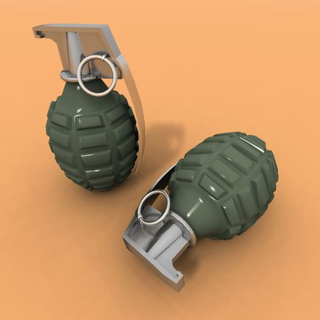 frag: a 3d rendering of two grenades on an orange background Stock Photo
