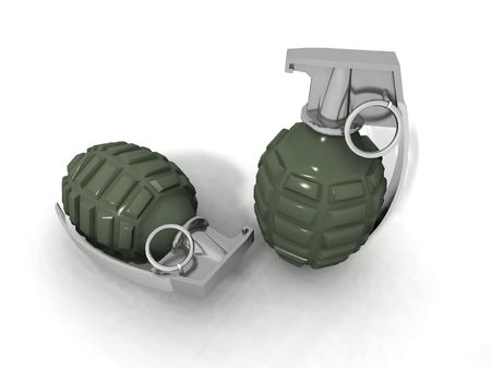 a 3d rendering of two grenades on a white background Stock Photo - 3002779