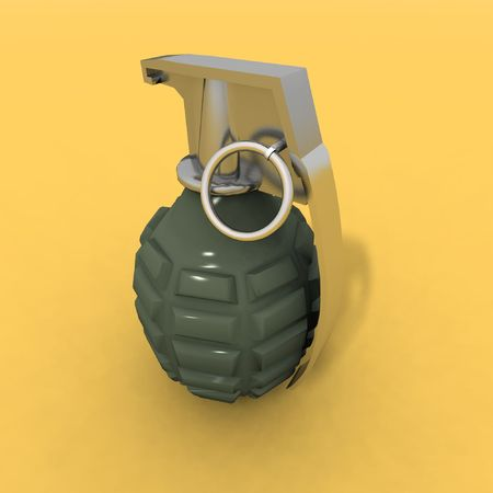 a 3d rendering of a grenade on a yellow background Stock Photo - 3002777
