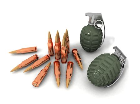 some bullets and hand grenades on a white background Stock Photo - 3117892
