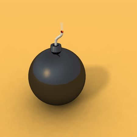 a black bomb on an orange background Stock Photo - 3117876