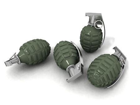 some hand grenades on a white background