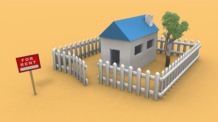 house for rent: a 3d rendering of a house for rent Stock Photo