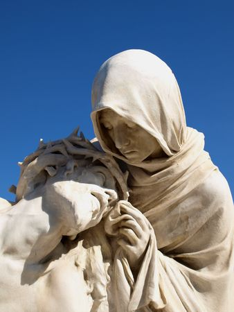 statues of holy mother and christ outdoor the marseille cathedral of Notre-Dame de la Garde Stock Photo