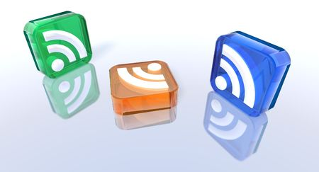 syndicated: 3d rendering of some colored rss symbols Stock Photo