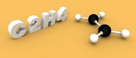 ethylene: a 3d rendering of an ethylene molecule C2H4