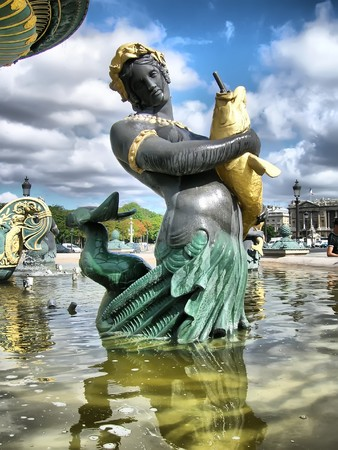 Paris - detail of the fountain of seas at the Concorde square