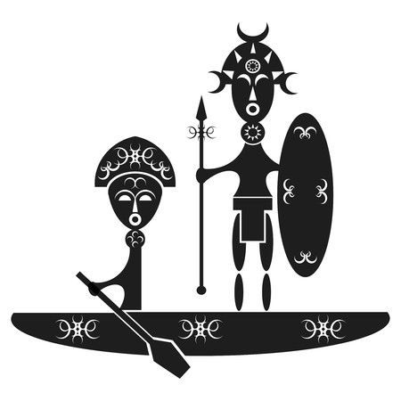 dugout: design of some african warriors in a dugout canoe
