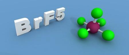 fluoride: A 3D render de una mol�cula de fluoruro de bromo
