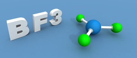 boron: a 3d render of a boron trifluoride Stock Photo