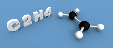 unsaturated: a 3d render of a ethylene molecule Stock Photo
