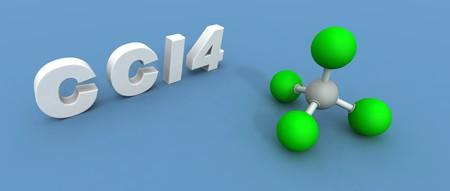 lewis: a 3d render of a carbon tetrachloride molecule