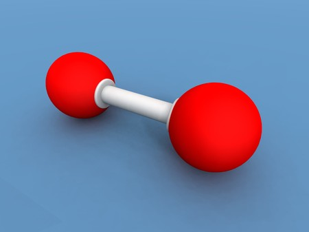 oxygene: a 3d render of a oxygene molecule Stock Photo