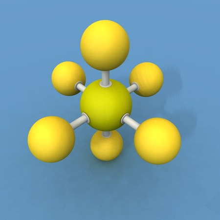 octahedral: a 3d render of a sulfur hexafluoride