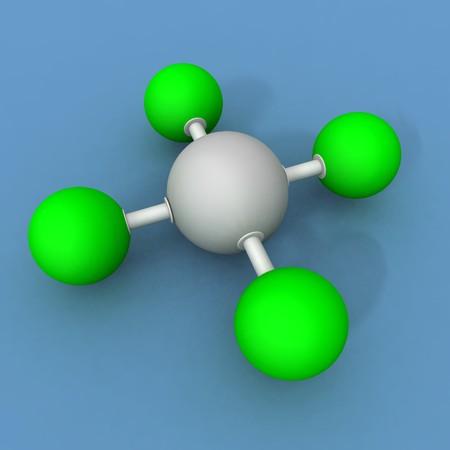 a 3d render of a xenon fluoride molecule Stock Photo