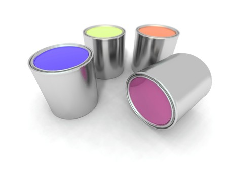 paintbucket: a 3d renderer of some paint cans Stock Photo