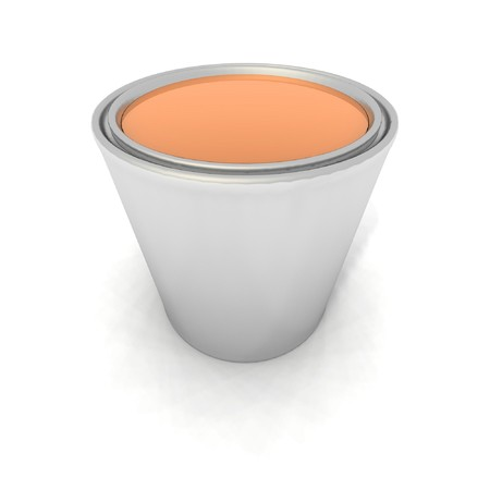 paintbucket: a 3d render of an orange paint can
