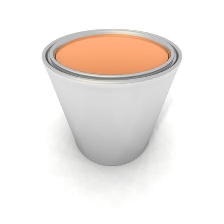 paintbucket: a 3d render of an orange paint can