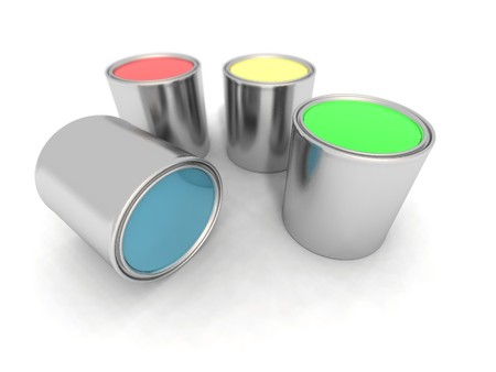 paintbucket: a 3d render of blue, red, yellow and green paint cans Stock Photo