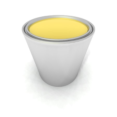 paintbucket: a 3d render of a yellow paint can Stock Photo
