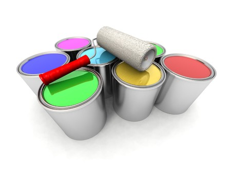 paintbucket: a 3d render of some roll painter and color cans Stock Photo
