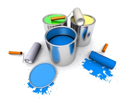 paintbucket: paint rollers, color cans and splashing