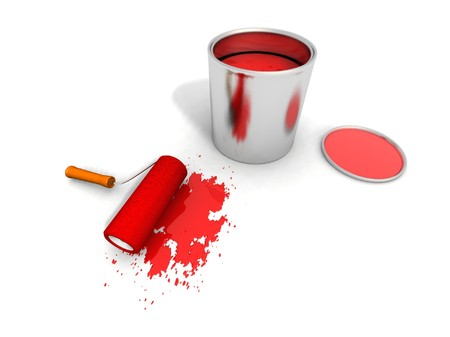 paintbucket: paint roller, red can and splashing