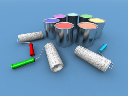 paintbucket: a 3d render of some roll painters and color cans Stock Photo