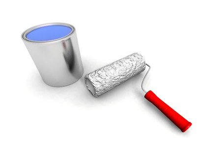 paintbucket: a 3d render of some roll painter and blue can