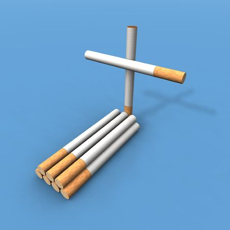 vices: a 3d render of a grave made with cigarettes
