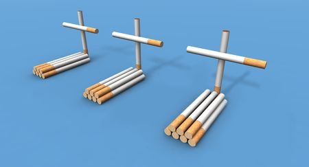 vices: a 3d render of some graves made with cigarettes Stock Photo