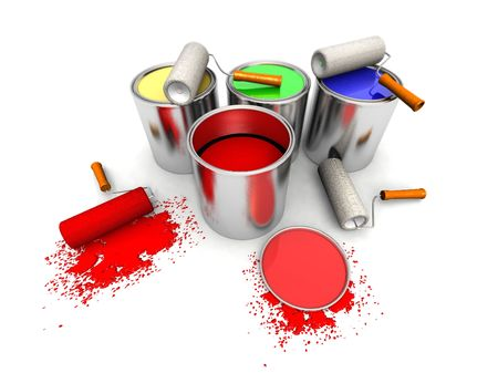 paintbucket: 3D render of roll painters, color cans and splashing Stock Photo