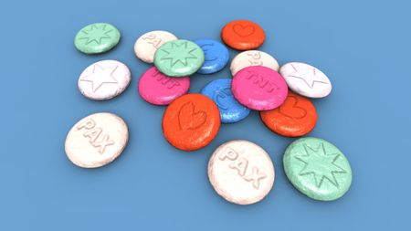 ecstasy: a 3D render of some colored ecstasy pills
