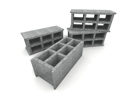 a 3d render of some cinder, cinder-blocks on a white background
