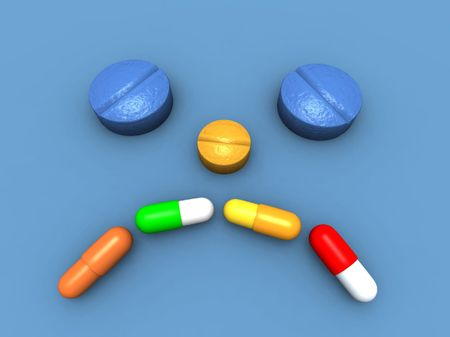 a 3d render of a sick head made with capsules and pills Stock Photo - 4692048