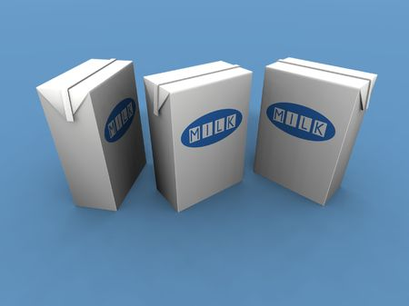 a 3d render of three milk packs photo