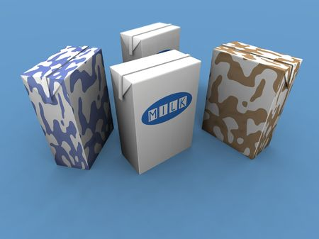a 3d render of some various milk packs on ablue background photo